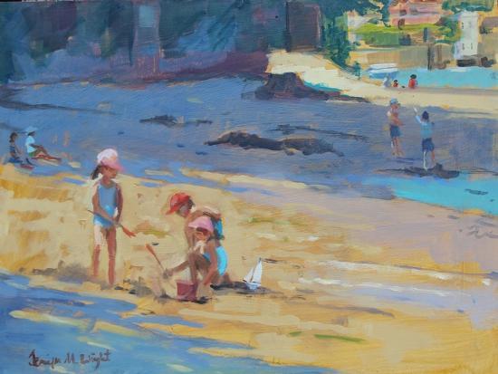 Salcombe Beach, Children-Jennifer Wright-Giclee Print