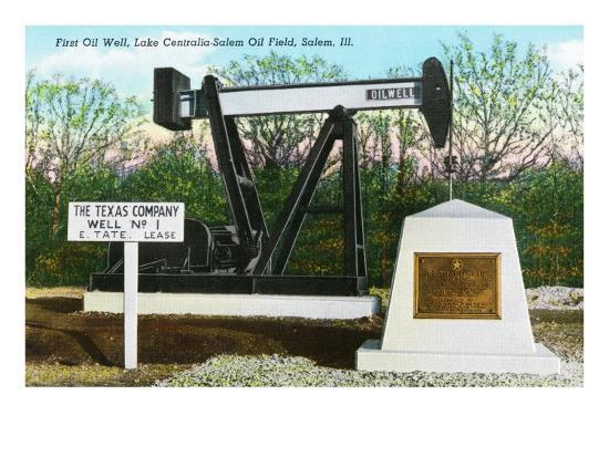Salem, Illinois, View of the Lake Centralia-Salem Oil Field's First Oil Well-Lantern Press-Art Print