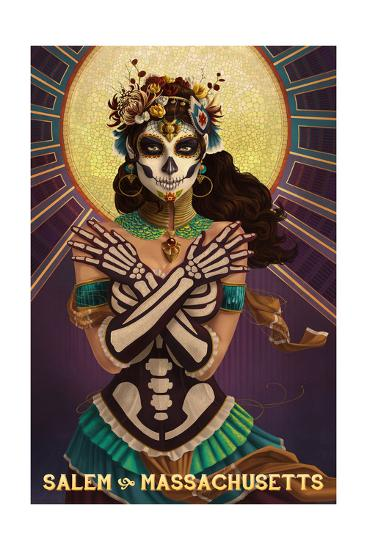 Salem, Massachusetts - Day of the Dead Crossbones-Lantern Press-Art Print