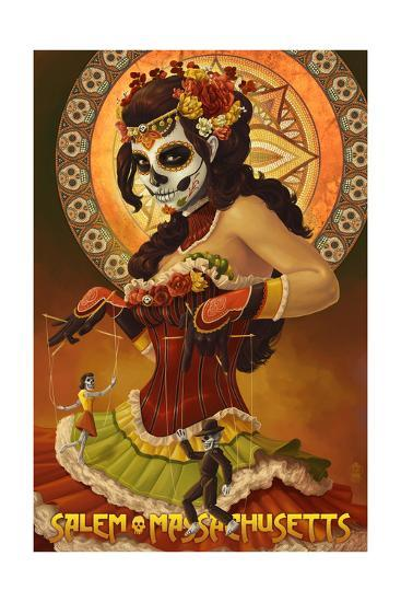 Salem, Massachusetts - Day of the Dead Marionettes-Lantern Press-Art Print