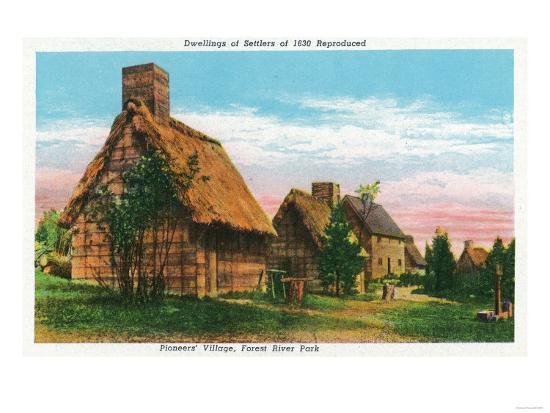 Salem, Massachusetts - Pioneers' Village Scene in Forest River Park-Lantern Press-Art Print