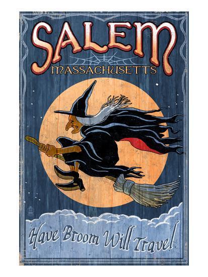 Salem, Massachusetts - Witch-Lantern Press-Art Print