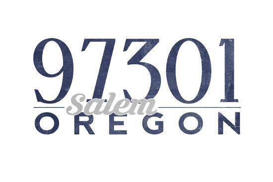 Salem, Oregon - 97301 Zip Code (Blue)-Lantern Press-Art Print