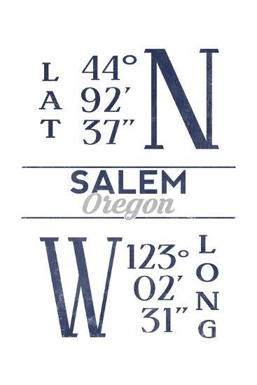 Salem, Oregon - Latitude and Longitude (Blue)-Lantern Press-Art Print