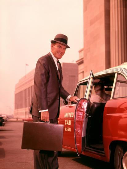 Salesman With Attache Case About To Enter Taxi Cab-H^ Armstrong Roberts-Photographic Print