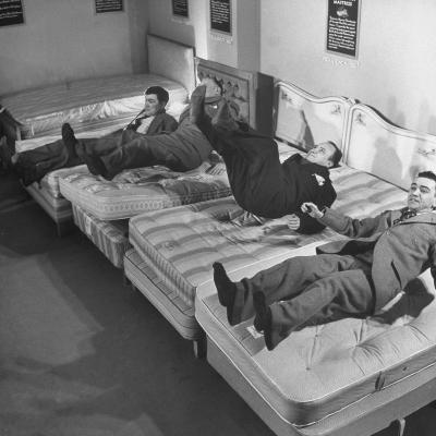 Salesmen Showing How Not to Test a Bed--Photographic Print