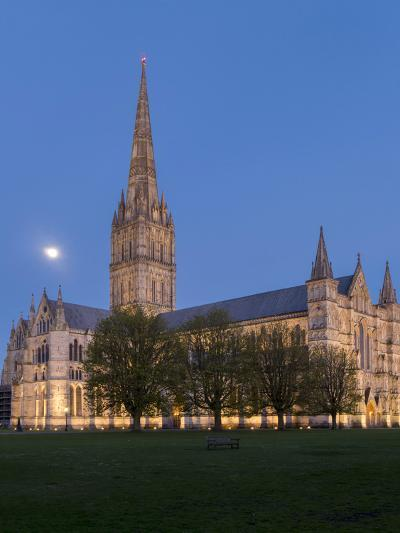 Salisbury Cathedral At Dusk With Moon-Charles Bowman-Photographic Print