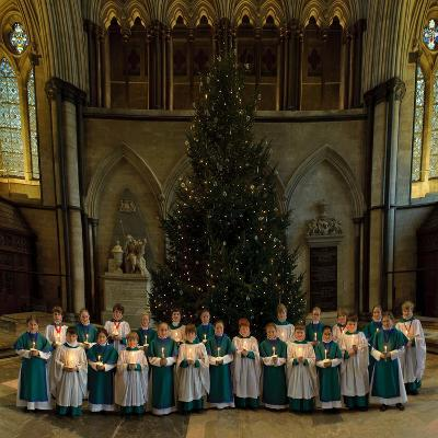 Salisbury Cathedral Choir with Candles and Christmas Tree--Photographic Print