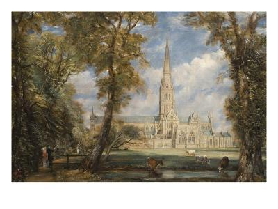 Salisbury Cathedral from the Bishop's Grounds-John Constable-Art Print