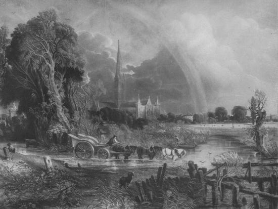 'Salisbury Cathedral from the Meadows', 1831, (1917)-Unknown-Giclee Print