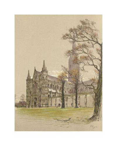 Salisbury Cathedral-Cecil Aldin-Premium Giclee Print