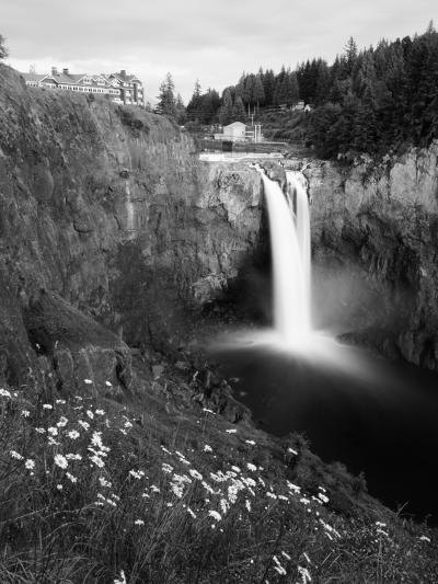 Salish Lodge and English Daisies, Snoqualmie Falls, Washington, USA-Charles Crust-Photographic Print