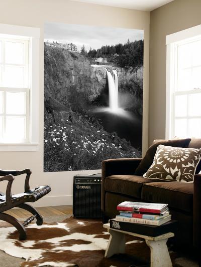 Salish Lodge and English Daisies, Snoqualmie Falls, Washington, USA-Charles Crust-Wall Mural