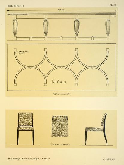 Salle a Manger IV, Hotel de M. Berger, a Paris, Illustration from 'Interieurs' by Leon Moussinac,…-Jacques-emile Ruhlmann-Giclee Print