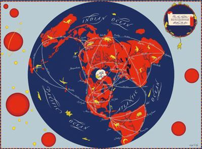 Map of the World - Our New Neighbors - Global Air Routes - Western Air Lines