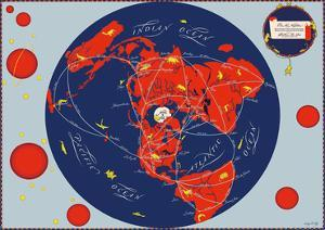 Map of the World - Our New Neighbors - Global Air Routes - Western Air Lines by Sally De Long