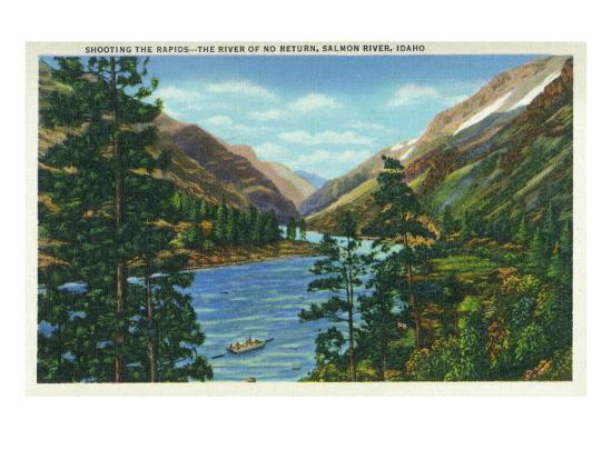 Salmon River, Idaho, View of Rafters Shooting the Rapids, the River of No Return-Lantern Press-Art Print