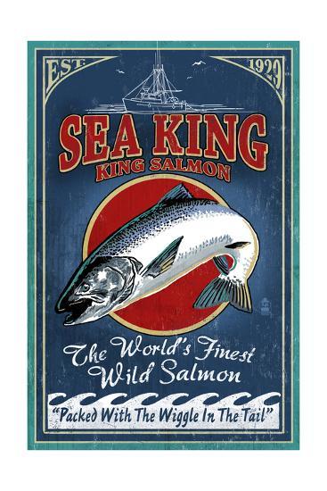 Salmon - Vintage Sign-Lantern Press-Art Print