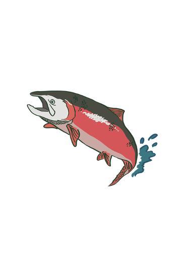 Salmon with Splash - Icon-Lantern Press-Art Print