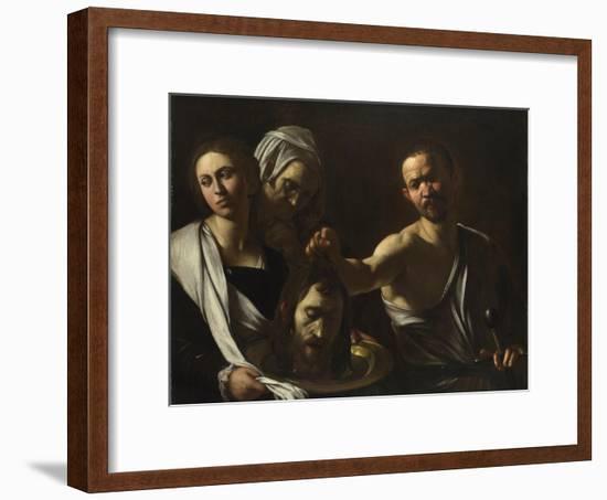Salome Receives the Head of John the Baptist, C. 1608-1610-Caravaggio-Framed Giclee Print