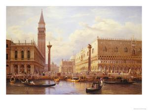 A View of the Piazzetta with the Doges Palace from the Bacino, Venice by Salomon Corrodi