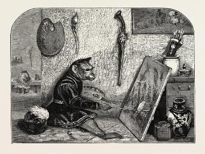 Salon of 1855. Monkey Painter, 1855-Alexandre Gabriel Decamps-Giclee Print