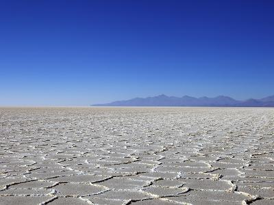 Salt Deposits in Salar de Uyuni Salt Flat and Andes Mountains in Distance in South-Western Bolivia-Simon Montgomery-Photographic Print