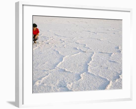 Salt Flats Beside Lac Assal in Rift Valley 152M Below Sea Level, Afar Triangle, Djibouti, Africa-Tony Waltham-Framed Photographic Print