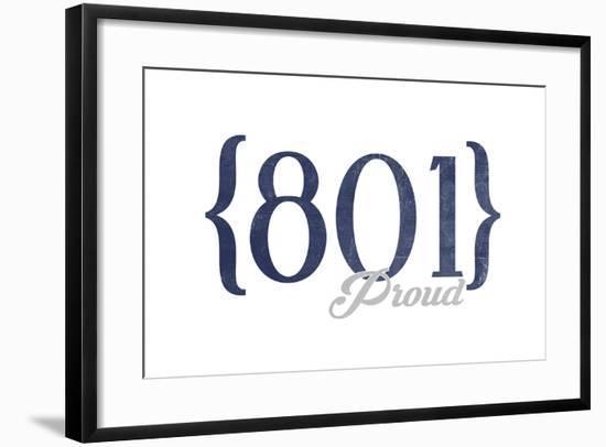 Salt Lake City, Utah - 801 Area Code (Blue)-Lantern Press-Framed Art Print