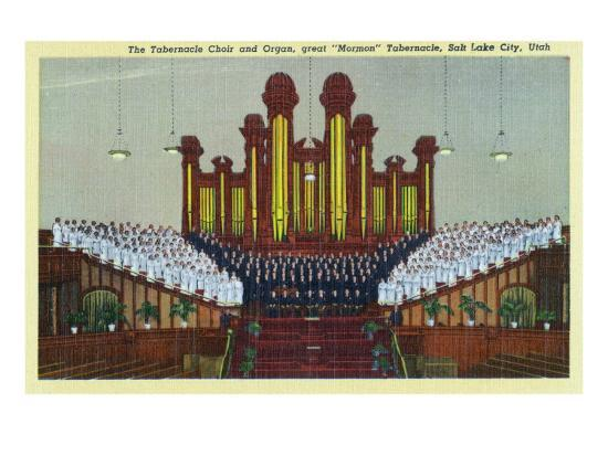 Salt Lake City, Utah, Interior View of the Mormon Tabernacle Choir and Organ-Lantern Press-Art Print