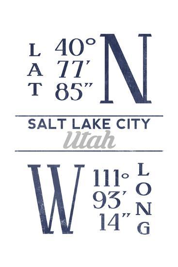 Salt Lake City, Utah - Latitude and Longitude (Blue)-Lantern Press-Art Print