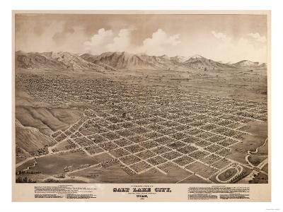 Salt Lake City, Utah - Panoramic Map-Lantern Press-Art Print