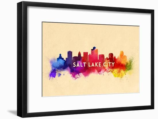 Salt Lake City, Utah - Skyline Abstract-Lantern Press-Framed Art Print