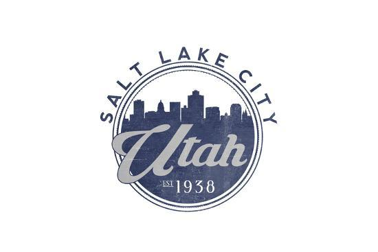 Salt Lake City, Utah - Skyline Seal (Blue)-Lantern Press-Art Print