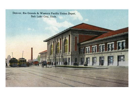 Salt Lake City, Utah - View of the Denver, Rio Grande and Western Pacific Union Depot, c.1914-Lantern Press-Art Print