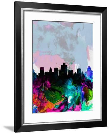 Salt Lake City Watercolor Skyline-NaxArt-Framed Art Print