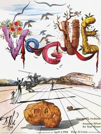 Vogue Cover - April 1944 - Dali's Surealist Vogue by Salvador Dal?