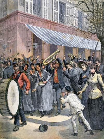 Salvation Army March Led by a Drummer Being Barracked by Onlookers in Paris, 1892-Henri Meyer-Giclee Print
