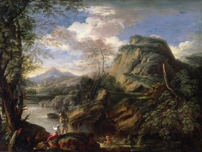 Mountain Landscape with Figures and a Man Bathing by Salvator Rosa