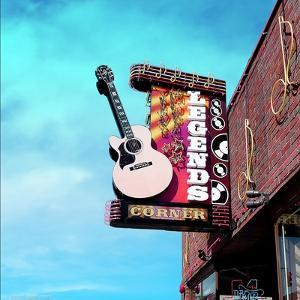 Vintage Street Sign in America with Guitar by Salvatore Elia