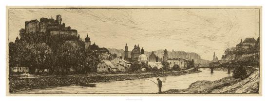 Salzburg Riverbank--Giclee Print