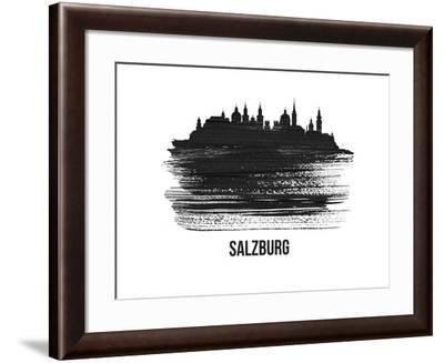 Salzburg Skyline Brush Stroke - Black II-NaxArt-Framed Art Print