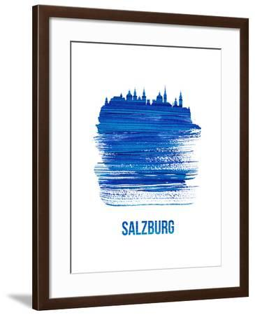 Salzburg Skyline Brush Stroke - Blue-NaxArt-Framed Art Print