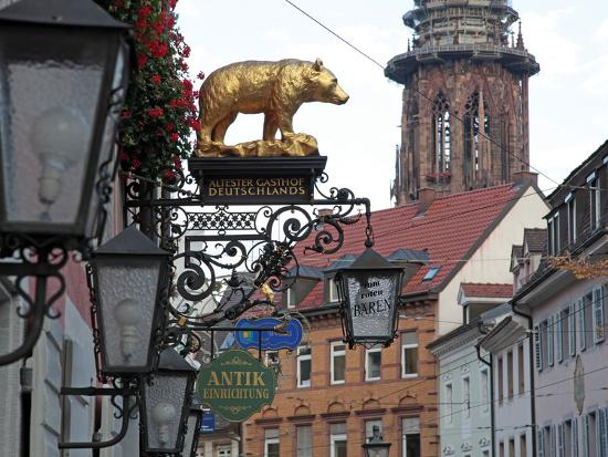 Salzstravue and Minster, Old Town, Freiburg, Baden-Wurttemberg, Germany, Europe-Hans Peter Merten-Photographic Print