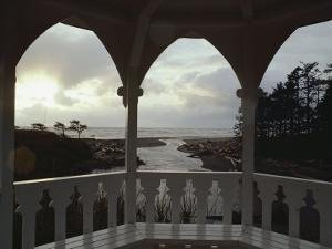 A View from Inside a Gazebo of a Stream Emptying into the Pacific Ocean by Sam Abell