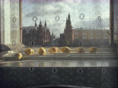 Ripening Pears and the Kremlin Visible Through Lace Curtains