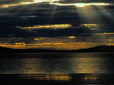 The Sun Sets over the Water in Tasmania