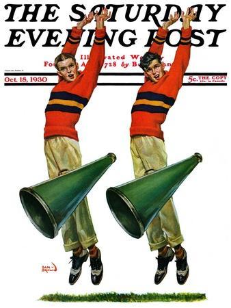"""Cheerleaders,"" Saturday Evening Post Cover, October 18, 1930"
