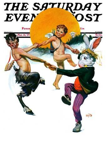 """Dancing in Spring,"" Saturday Evening Post Cover, March 16, 1929"