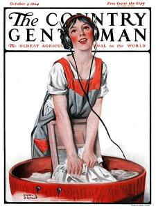 """""""Radio Daze,"""" Country Gentleman Cover, October 4, 1924 by Sam Brown"""